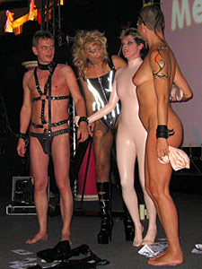 Hot bondage gear show with nude models on the Extasia 2007 erotic exhibition in Zurich
